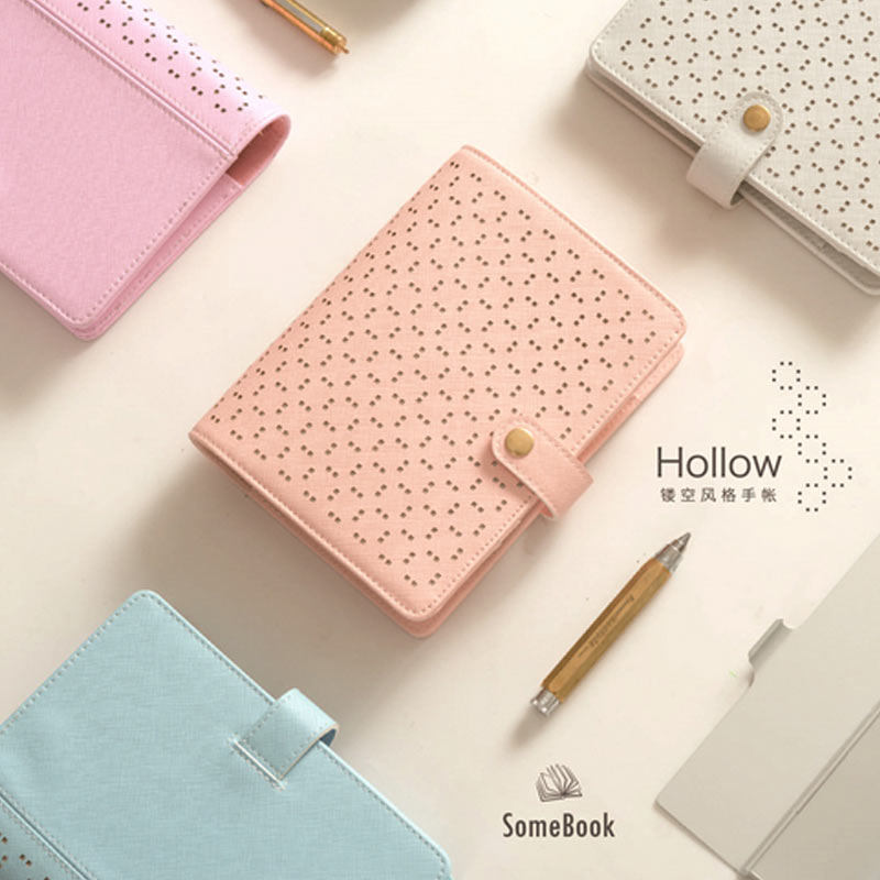 2017  Creative Hollow 6 loose leaf Notebook  A5 A6 Diary Planner for stationery office & school supplies high quality pu cover a5 notebook journal buckle loose leaf planner diary business buckle notebook business office school gift