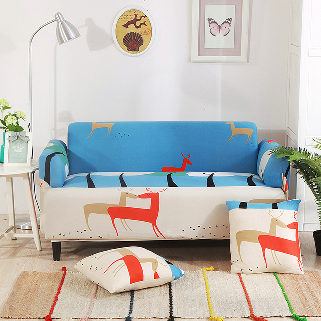 Christmas Deer Universal Stretch Sofa Covers For Living Room Blue     Christmas Deer Universal Stretch Sofa Covers For Living Room Blue Cartoon  Corner Couch Sofa Slipcovers
