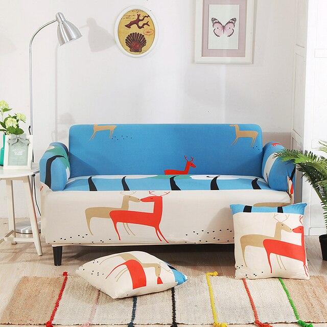 Natal Rusa Universal Peregangan Sofa Mencakup Untuk Ruang Tamu Biru Kartun Sudut Slipcovers