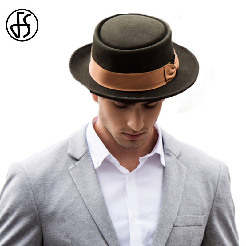 FS 2017 Vintage Wide Brim 100% Wool Mens <font><b>Fedora</b></font> Black Green With Pork Pie Hat <font><b>For</b></font> Man Winter Classic Church Wool Felt Hats