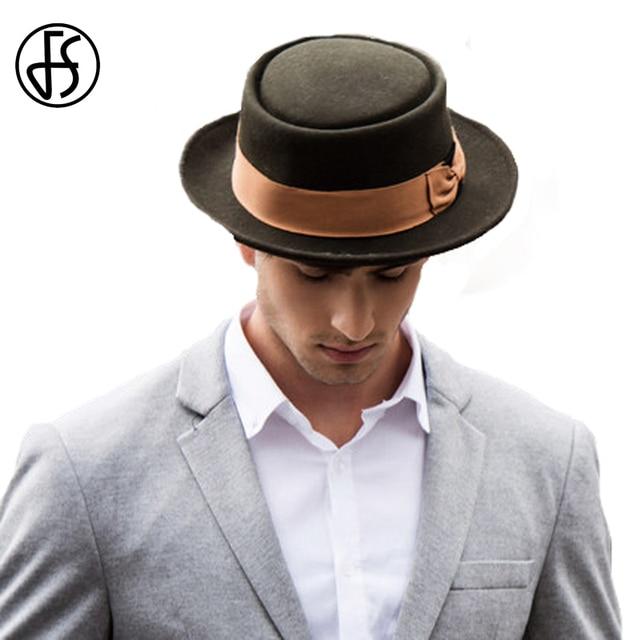 cb422af52fe FS Vintage Wide Brim Mens Fedora 100% Wool Wide Brim Classic Winter Black  Male Pork Pie Hat Man With Ribbon Bow Church Felt Hats