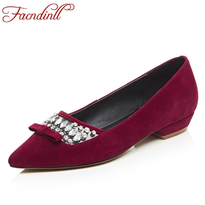 FACNDINLL new brand 2018 spring women flats shoes sheepskin red shoes crystal pointed toe shoes ladies sweet dress casual shoes