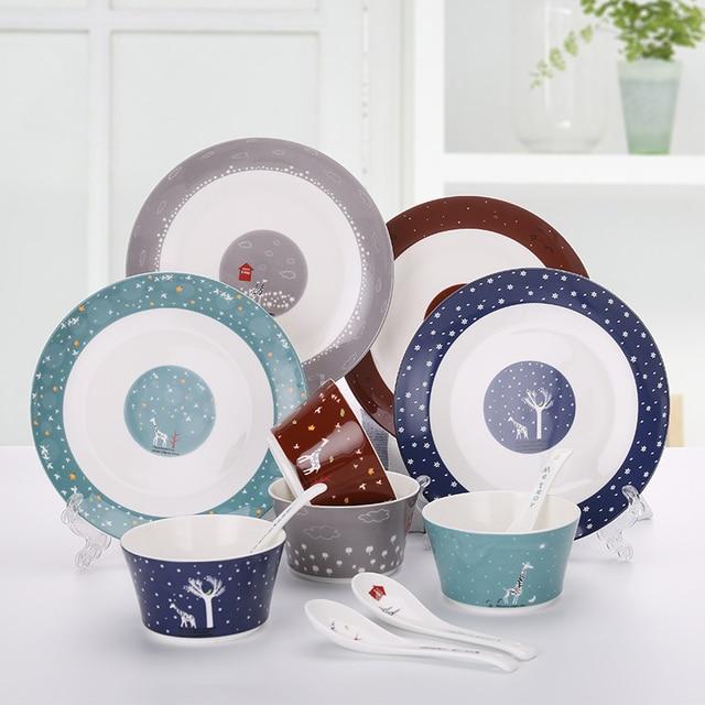 New Style 12pcs/set Ceramic Dinnerware Sets Family Bone China Porcelain Dish Plates Bowls Christmas & New Style 12pcs/set Ceramic Dinnerware Sets Family Bone China ...