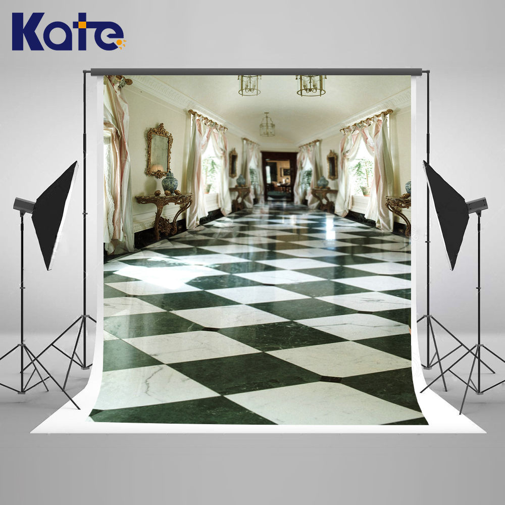 KATE 5x7ft Indoor Wedding Backdrop European-style Open Room Backdrops Black and White Tiles Space Background for Photo Studio