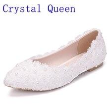 Pha lê Hoàng Trắng Ren Pearls Phụ Nữ Đôi Giày Cưới Gót Chân Phẳng Giản Dị Shoes Ladies Đảng Ăn Mặc Giày Chỉ Ngón Chân Kích Thước 42