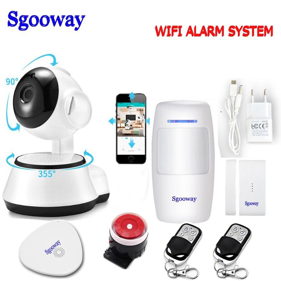 Sgooway EN RU ES Language Wireless Home Security WIFI Alarm System APP Remote Control With Ip Camera PIR Door Sensor
