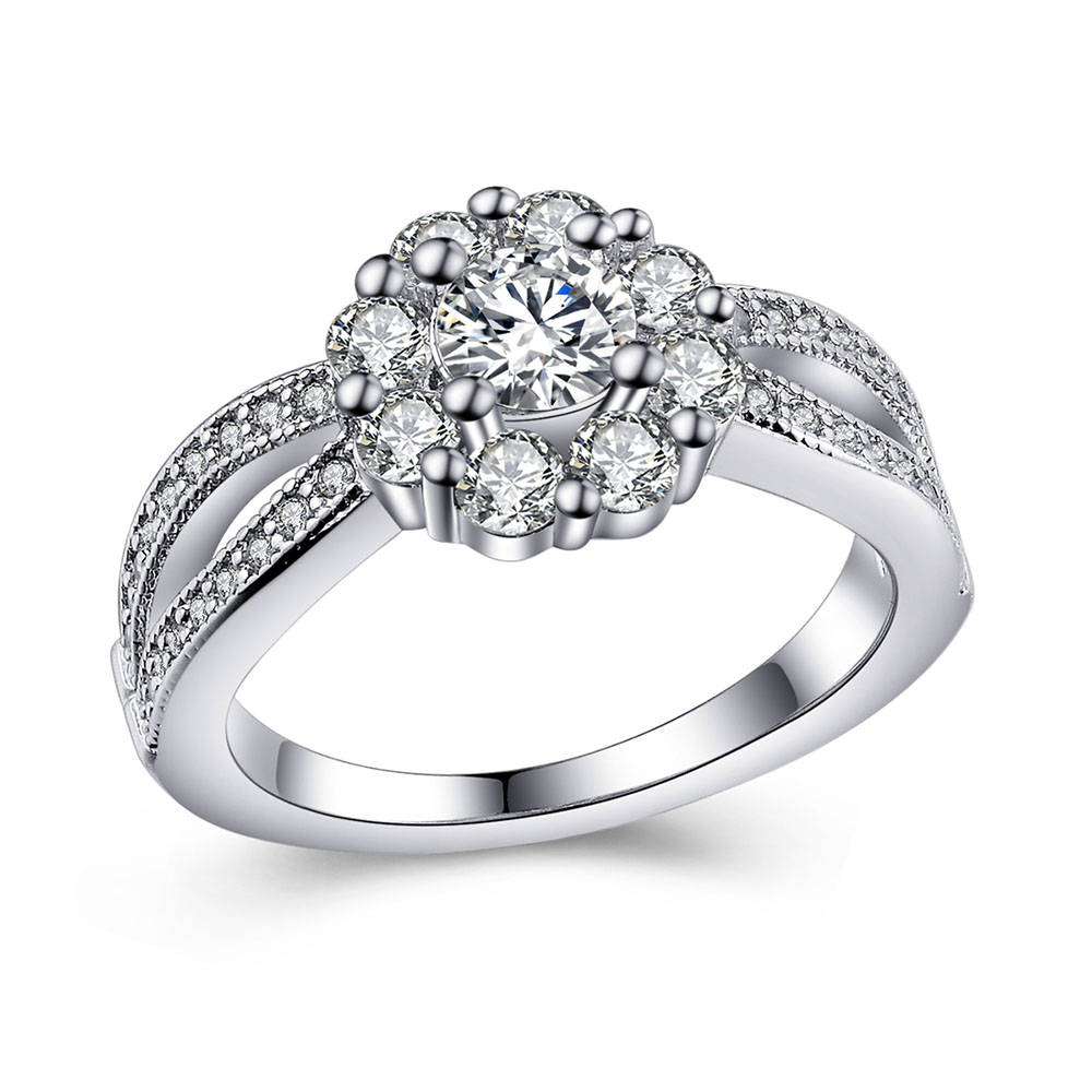 Romantic Bands: Flower Silver Plated Jewelry 925mall Lady Princess Cut