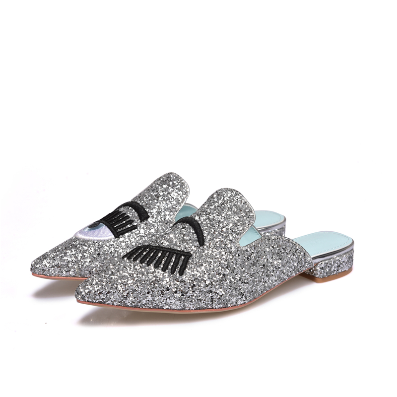 Eyes Lips Eyelashes Flat Slippers Women Summer Shoes Glitter Sequins Beach  Shoes Woman Slides Pointed Toe Flats Sandalias Mujer-in Slippers from Shoes  on ... 073f6eda851a