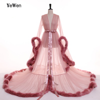3 Слои глубокий розовый сон халат перо вечернее платье с v образным вырезом длинный Рог рукава тюль вечерние платья 2018 платья для выпускного