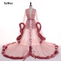 3 Слои темно розовый халат для спальни вечернее платье из перьев с v образным вырезом длинный Рог рукава тюль вечерние платья 2019 платья для в