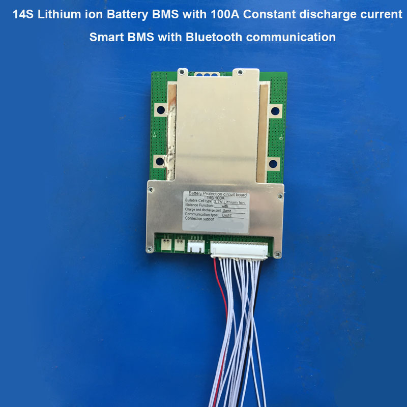 58 8V 14S Bluetooth BMS for 48V Li ion Battery PCB board with 100A constant charge