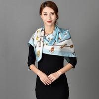 Fashionable Ladies Square Silk Scarf Luxury Brand 2017 Foulard Soie 100 Pure Silk Scarf Women Large