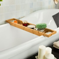 SoBuy FRG18 N 100% Bamboo Bathtub Tray Bath Shower Rack Shelf Bath Bridge