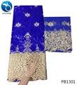 LIULANZHI Koningsblauw afrikaanse bazin stof Mode stijl borduurwerk bazin kant stof met stenen 7 yards bazin riche getzner PB13