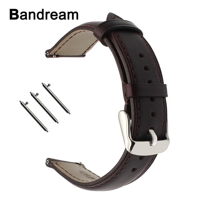 עור אמיתי רצועת השעון עבור Garmin Vivoactive 3 Ticwatch 2/E Samsung ציוד ספורט מהיר שחרור שעון להקת פלדת אבזם רצועה