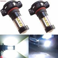 2Pcs PSX24W 2504 H16 5202 de alta potencia 80W CREE Chip LED proyector de luz de niebla DRL 6000 K Blanco frio Bombillas