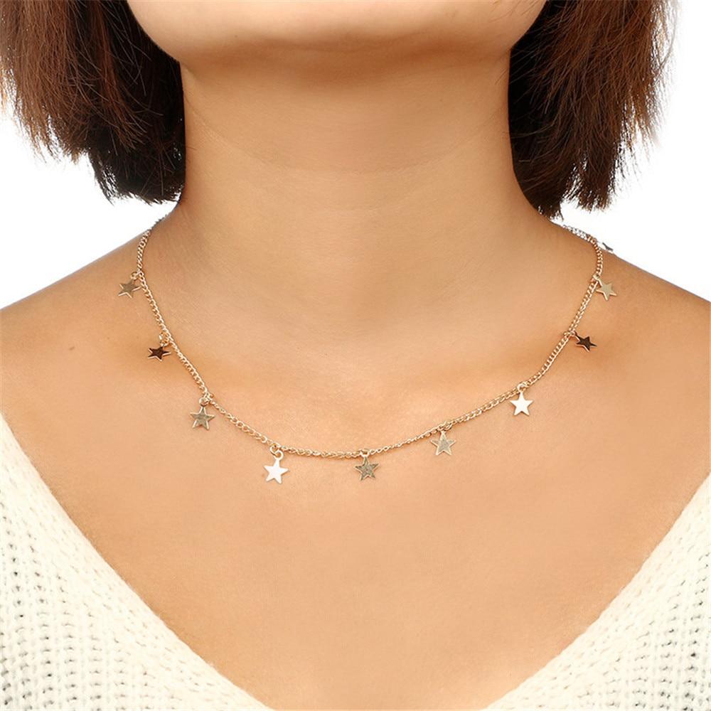 Boho Women Chocker Gold Silver Chain Necklace Star Choker Necklace Star Tassel Pendant 2019 Fashion Jewelry Statement Necklace