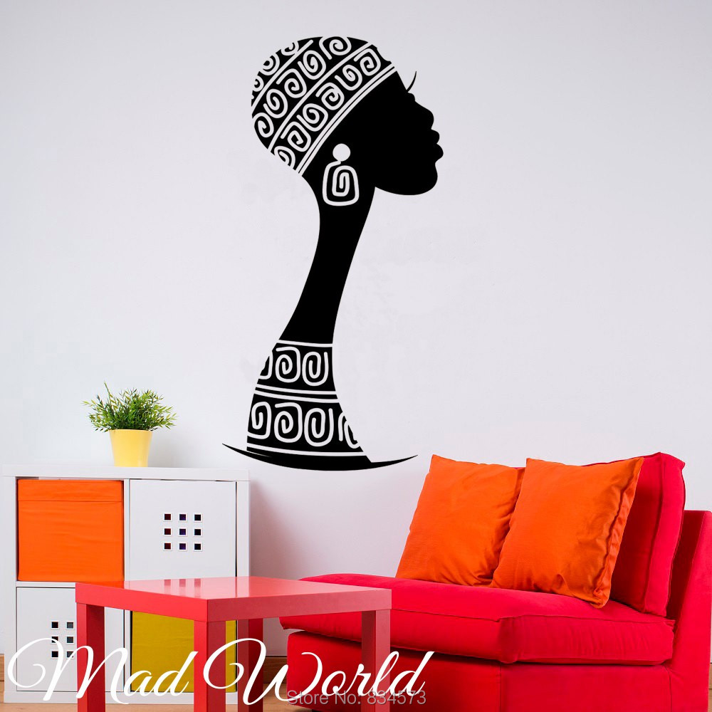 Nice Mad World African Woman Female Wall Art Stickers Decal Home DIY Decoration Wall  Mural Removable Bedroom Decor Wall Stickers Idea