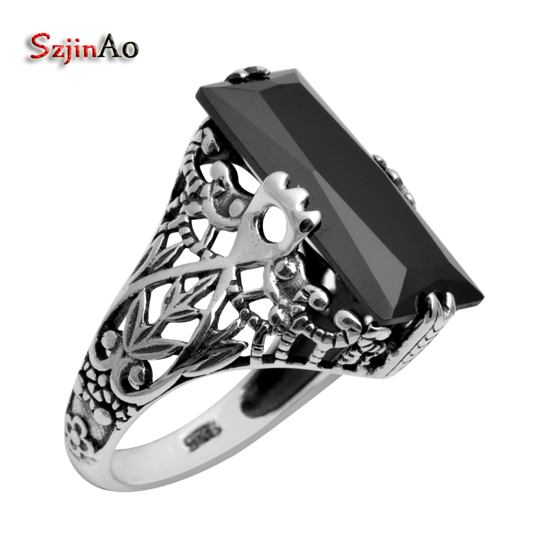Szjinao Sexy Black Zirconia Rings For Women Birthday Party Square Gothic 925 Sterling Silver Jewelry Buy-direct-from-china
