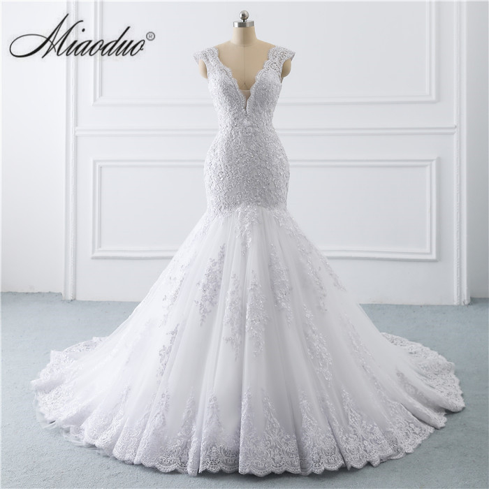 Robe de noiva sereia branco 2019 abiti da sposa Illusion bouton dos dentelle appliques perles cristal col en V robes de mariée nouveau