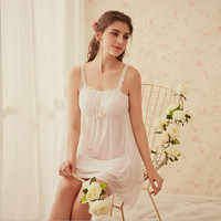 2018 Womens Soft Short Nightgowns Female Sweet Princess Sleeping Home Dress Lace Sexy White Pink Nightdress Chest Pads AD211