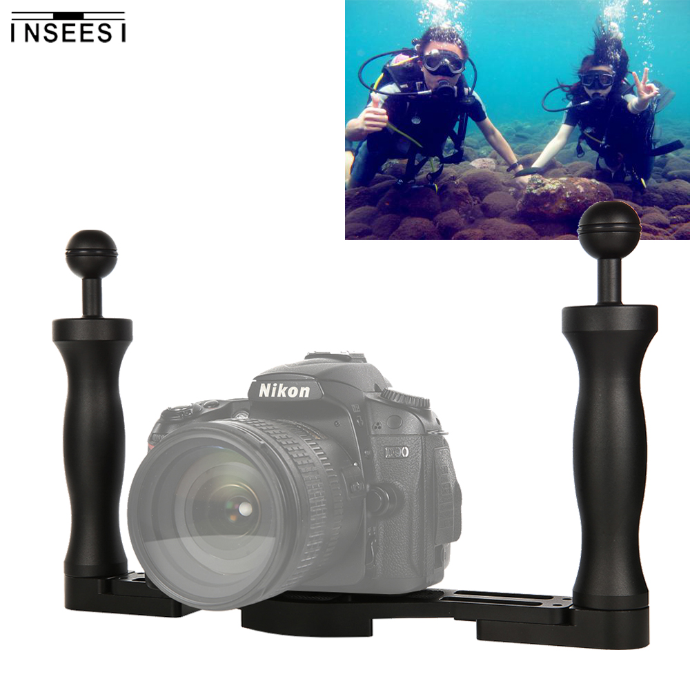 INSEESI poignée de caméra En Aluminium Stabilisateur Rig Stabilisateur Plateau pour caméra sous-marine Plongée plateau coque de support pour Canon Nikon