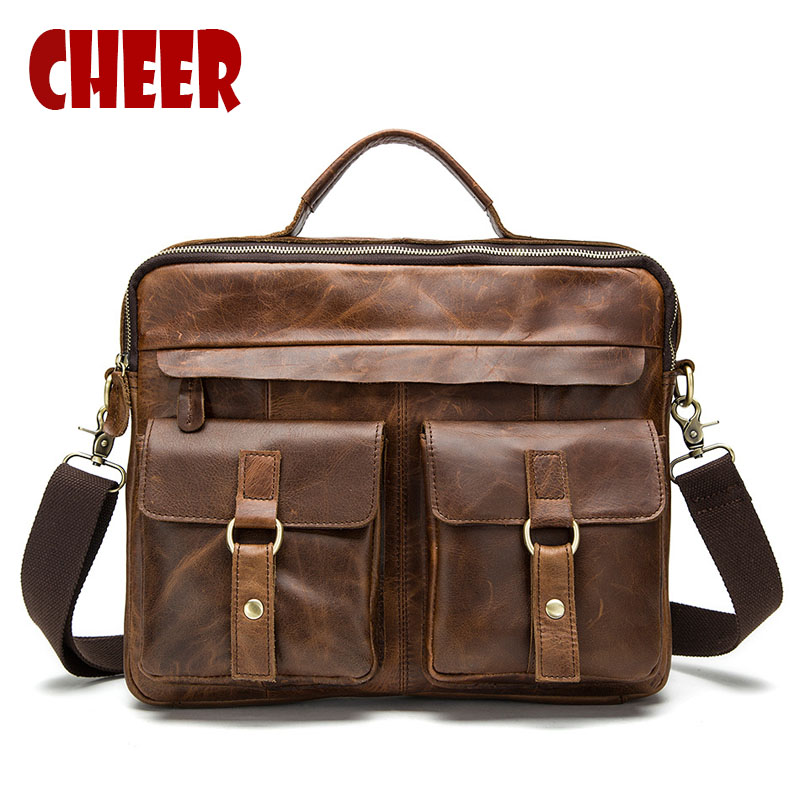 Genuine leather Business Briefcases handbags male shoulder bags high quality Natural Crazy Horse skin men handbag Laptop bag joyir crazy horse leather briefcases men s genuine leather business bags male shoulder bag laptop bag men office bags for men