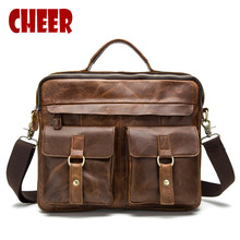 Men handbag Natural 100% Genuine leather Business Briefcases handbags Luxury Laptop bag messenger bag Crazy Horse Crossbody bag