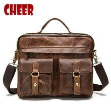 NEW genuine leather Brand Men handbag Business Briefcases bag Cow Crazy Horse Leather messenger Shoulder High capacity Handbags