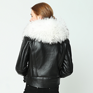 Image 5 - OFTBUY 2020 new Winter jacket coat women Real Sheep skin Leather jacket Double faced Fur With Raccoon Dog Fur Collar Wool Liner