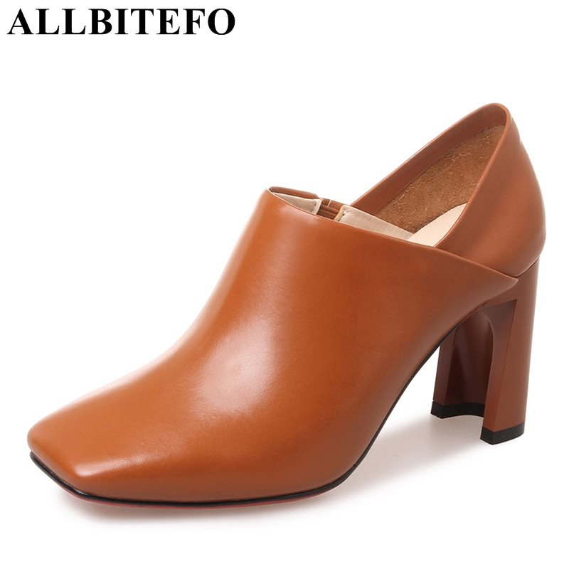 цены ALLBITEFO hot sale genuine leather square toe thick heel women pumps new spring high heel shoes office ladies shoes spring pumps