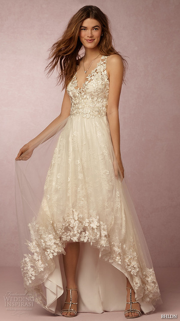 d73255d18b Elegant High Low Asymmetrical Wedding Dresses Sexy V-line Sleeveless  Beautiful Applique Bridal Gown NM 495