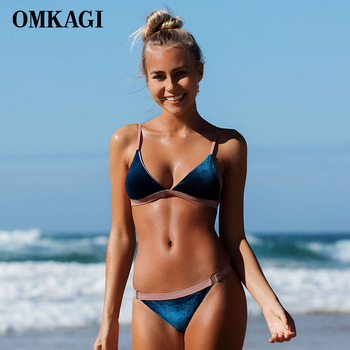 OMKAGI Brand Velvet Swimwear Women Swimsuit Sexy Push Up Micro Bikini Set Swimming Bathing Suit Beachwear Bikinis Women 2018