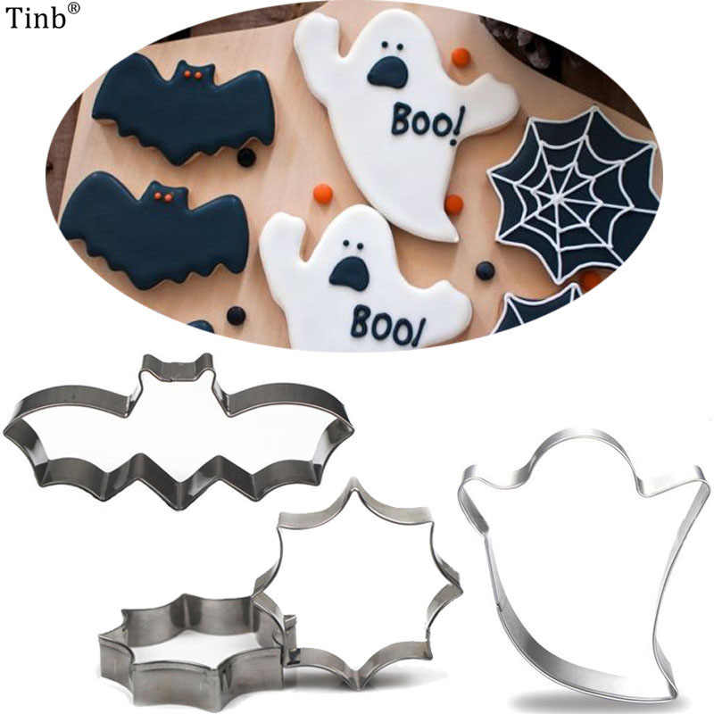 3pc/Set Stainless Steel Halloween Bat Ghost Cookie Cutter Cake Decorating Fondant Cutters Tool Cookies Biscoito Mold Baking Tool