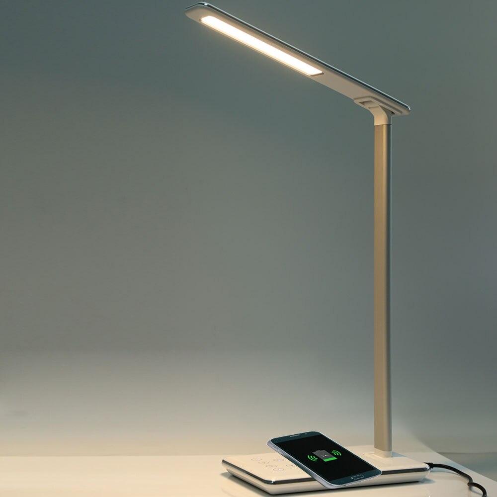 2018 Pliant Protection des Yeux LED Lampe de Bureau 5 V 2.5A Tactile Capteur LED Table Night Light avec Qi Sans Fil Chargeur De Bureau USB Sortie