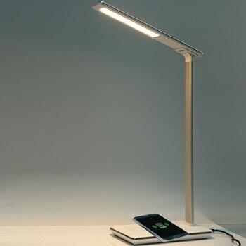 2019 składana ochrona oczu lampa biurkowa LED 5V 2.5A dotykowy czujnik LED lampka nocna stołowa z Qi bezprzewodowa ładowarka biurkowa wyjście USB