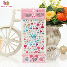 NEW 2sheets shining colorful diamond stickers 3D stickers toy party favor cellphone girls gift children education