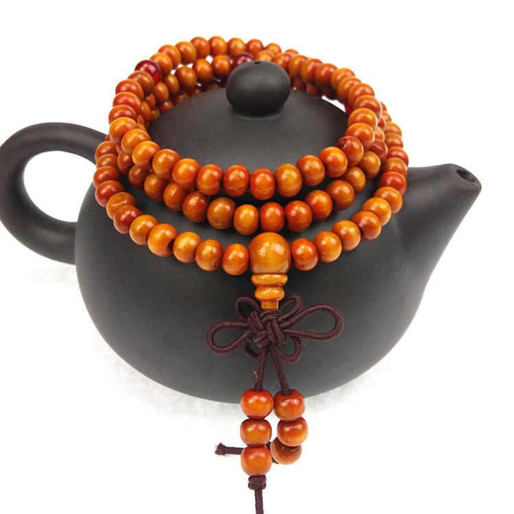 """6 מ""""מ טבעי אלמוג בודהיסטי בודהה מדיטציה 108 חרוזים עץ ביד Mala צמיד נשים גברים תכשיטים"""