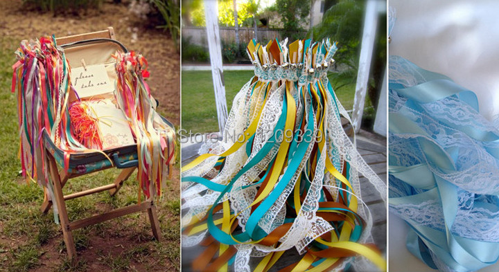 mixed color twirling streamers wedding favor ribbon with lace sticks wands with bell