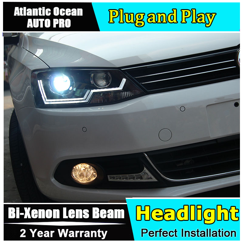 Auto Lighting Style LED Head Lamp for VW Jetta led headlights 2011-2014 Cob Line for Volks Wagen HID KIT Bi-Xenon Lens low beam auto lighting style led head lamp for toyota yaris l led headlights 2014 2016 double u led hid kit bi xenon lens low beam