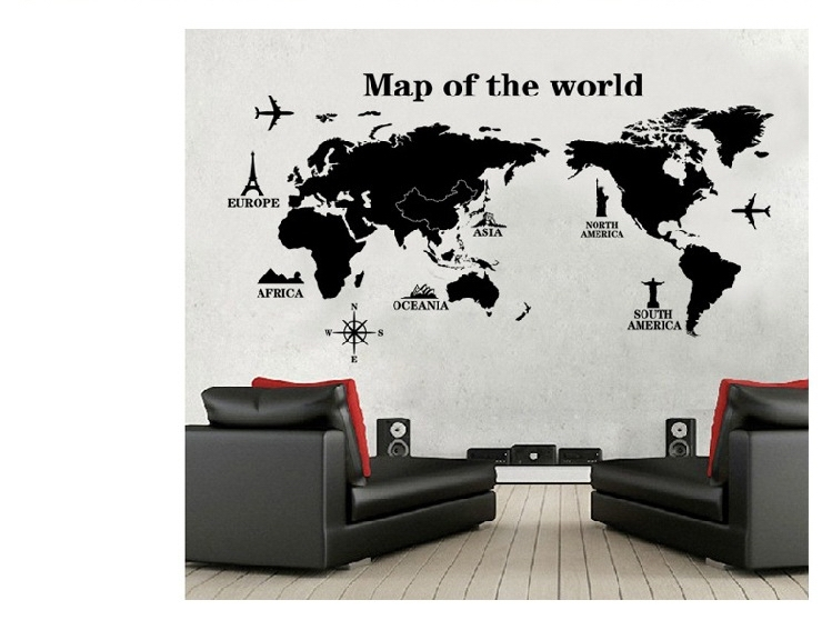 quality black world map wall stickers men home decor decor modern