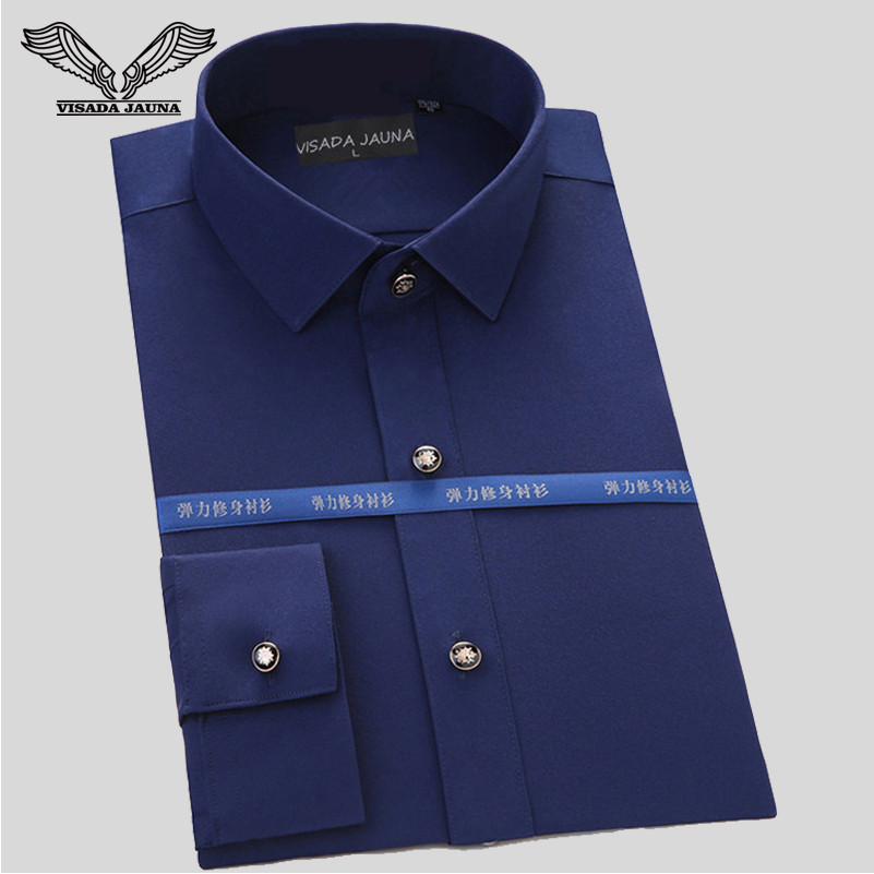 VISADA JAUNA Men's Shirt 2017 New Fashion Business Long Sleeve Classical Solid Slim High Quality Cotton Dress Shirts S-4XL N543