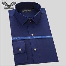 Visada jauna Мужская рубашка 2017, Новая мода Бизнес с длинным рукавом Классическая, высокое качество хлопковое платье Рубашки S-4XL N543
