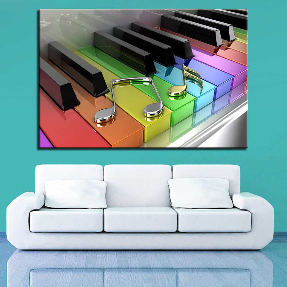 Canvas Paintings Framework Living Room HD Prints Poster 1 Piece/Pcs Rainbow Piano Keys Pictures Musical Note Home Decor Wall Art