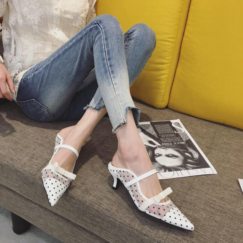 64bda6b4f29 Detail Feedback Questions about Boussac Polka Dot Kitten Heel Women Mules  Sexy Pointed Toe High Heels Women Pumps Elegant Lace Bowtie Ladies Shoes  SWB0170 ...