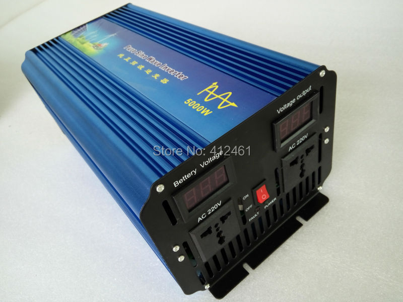 Volt Display AC Inverter Solar Inverter 5000Watt / 5000W 12/24/48VDC to 110/220VAC 10000W Peak Pure Sine Wave Power Inverter