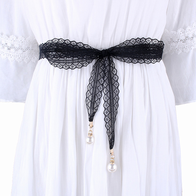 laides Fashion hollow girdle pearl lace   belts   for women long waist knot rope female dresses decorated narrow ribbon black