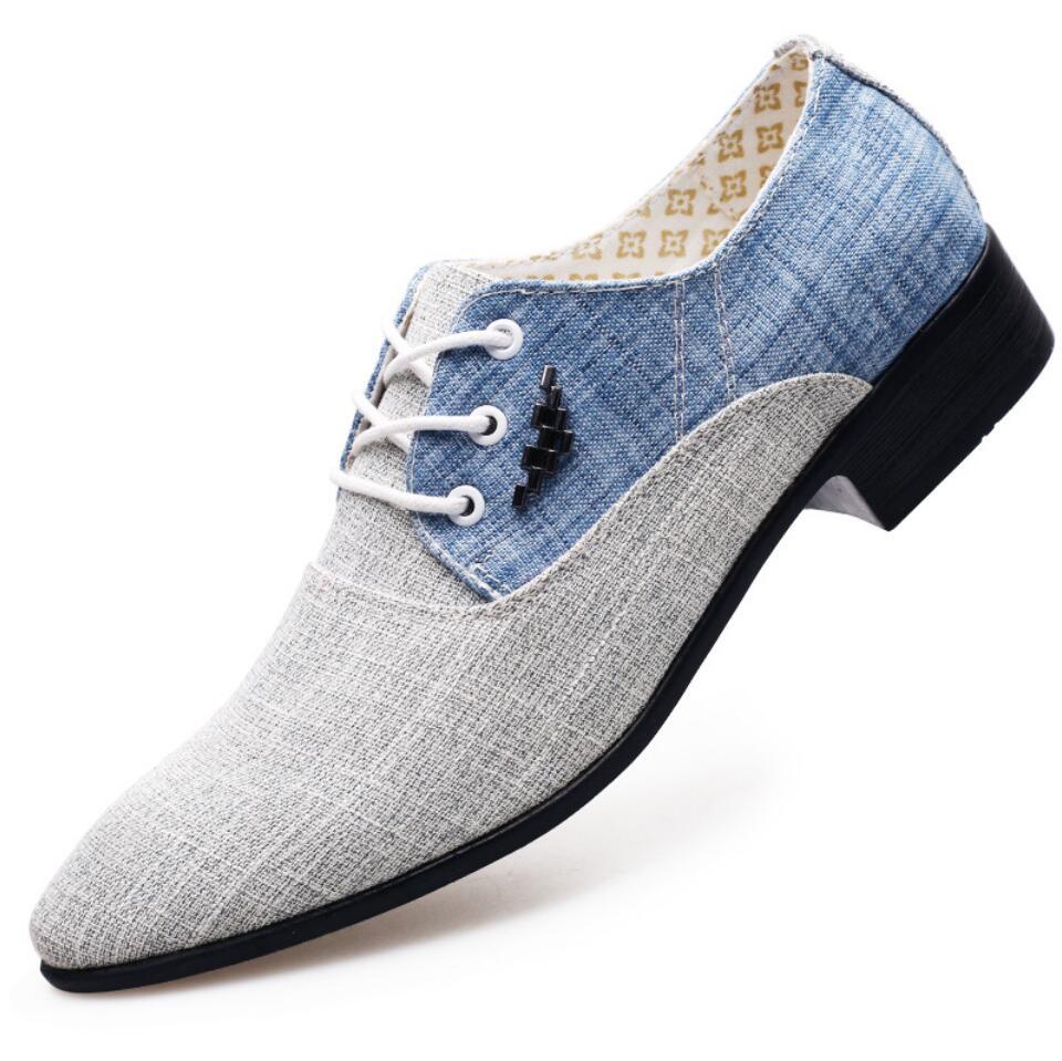 Vestido de casamento dos homens da lona Sapatos De Couro formais Respirável 2019 Homens oxford Flats escritório Sapatos chaussure zapatos de hombre vestir