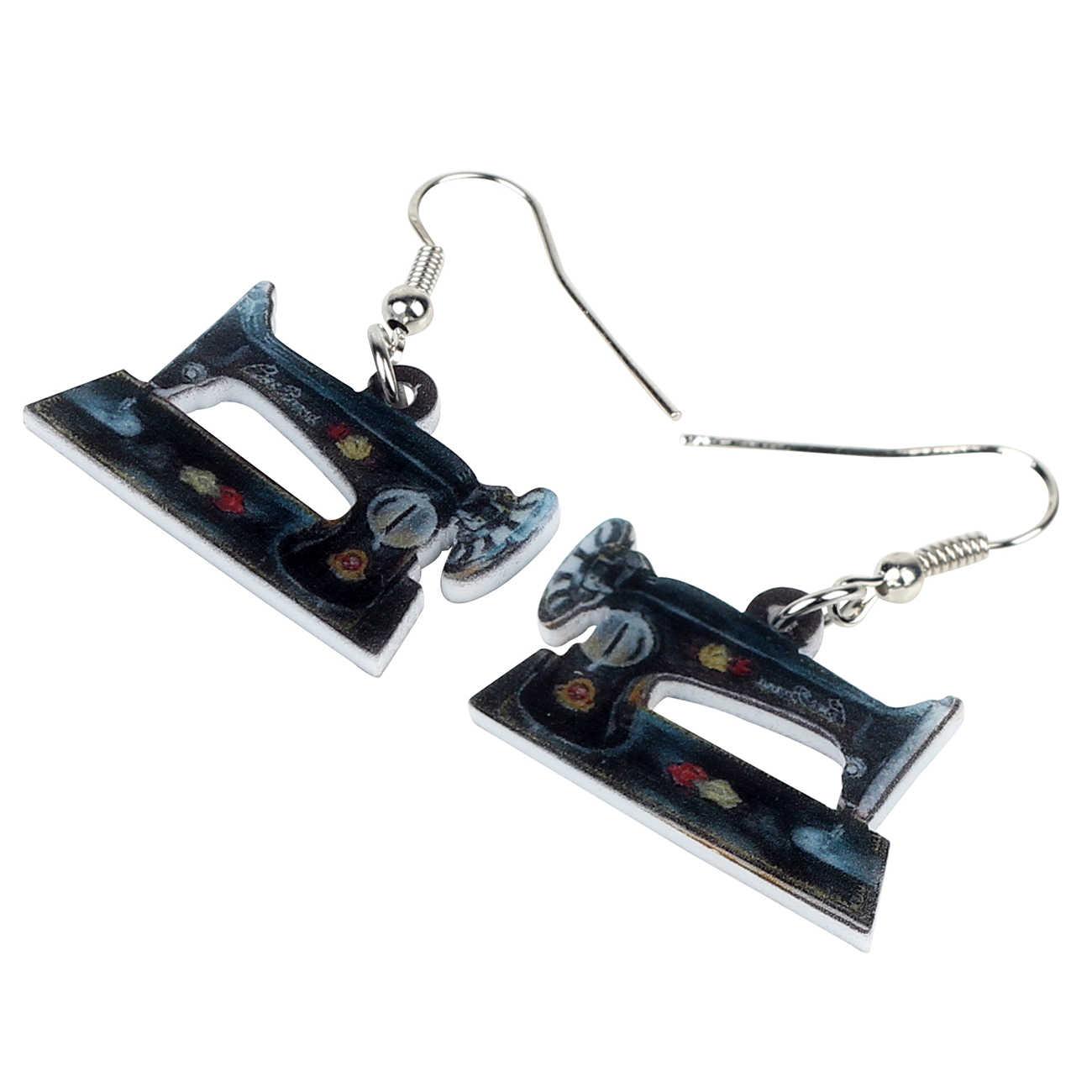 Bonsny Tuyên Bố Acrylic Hoa May Máy Bông Tai Drop Dangle Earrings Độc Đáo Công Cụ Đồ Trang Sức Cho Phụ Nữ Cô Gái Thanh Thiếu Niên Quà Tặng Đảng Charms