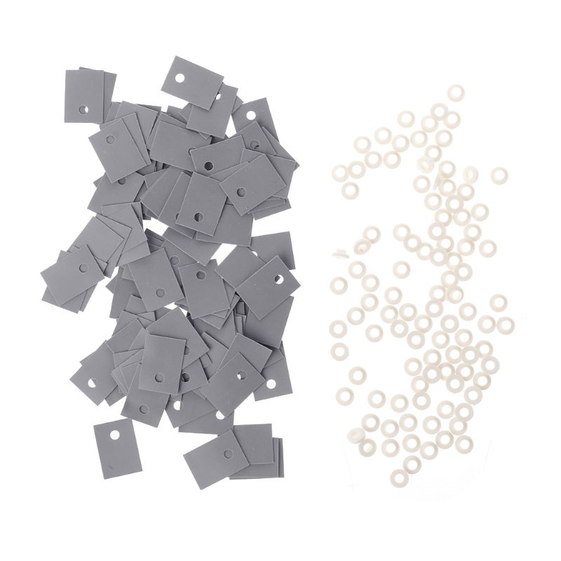 100PCS TO-220 Plastic Insulation Washer Transistor and TO-220 Silicone Pads Insulator Set
